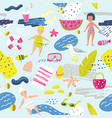 childish summer beach vacation seamless pattern vector image vector image