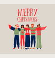 christmas card of diverse people friend group hug vector image vector image