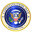 constitution day seal vector image vector image