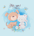 cute cartoon cat and dog with flowers postcard vector image vector image
