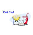 cute hamburger french fries and soda fast food set vector image