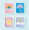 cute stamps weather rainbow clouds umbrella rain vector image