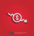 dollar decrease icon money symbol with arrow vector image vector image