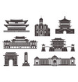 east asia isolated asian buildings on white vector image
