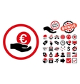 Euro Salary Hand Flat Icon with Bonus vector image vector image