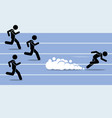 fast runner sprinter overtaking everybody in a vector image