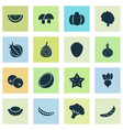 fruit icons set with figs root cucumber and vector image