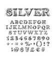 full english alphabet of silver inflatable vector image