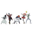 fun dancing halloween monsters scary girl vampire vector image