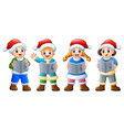 group of kids in santa cost vector image vector image