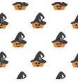 halloween pumpkin wearing witch hat pattern vector image vector image