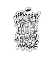 handwritten graffiti font alphabet vector image vector image