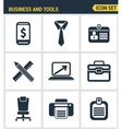 Icons set premium quality of basic business vector image vector image