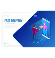 isometric fast delivery service online delivery vector image vector image