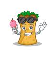 kebab wrap character cartoon with ice cream vector image vector image