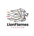 lion fire flame geometric polygonal logo icon vector image