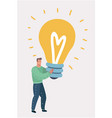 man hugs a big light bulb big good idea vector image vector image