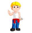 mechanic cartoon thumb up vector image vector image