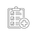 medical report line icon on white background vector image vector image