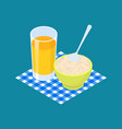 parboiled rice porridge and fruit juice breakfast vector image
