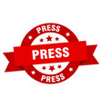 press ribbon press round red sign press vector image vector image