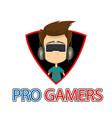 pro gamer man wearing realistic virtual reality gl vector image