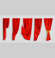 red window curtains on transparent background vector image vector image
