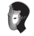 Repeat line of man head with black eye vector image