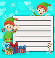 santa s helpers and gift boxes christmas card vector image