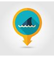 Shark fin pin map flat icon Summer Vacation vector image