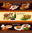 Spanish cuisine restaurant menu banner set design