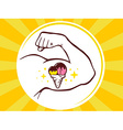 strong man hand with ice cream icon on ye vector image vector image