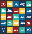 transportation and vehicles set on color squares vector image
