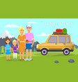 travel agency banner parents travel with kids vector image vector image