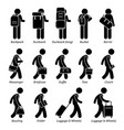 type man male bags and luggage stick figure vector image vector image