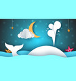 whale sea star sky moon - paper cartoon vector image