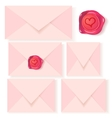 set of pink letters with romantic wax seal vector image