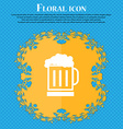 Beer glass icon sign Floral flat design on a blue vector image