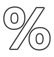 black and white percent icon graphic vector image