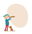 boy playing pirate cat spy glass place for text vector image vector image