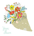 Bunch of flowers in the paper wrapping card vector image vector image