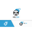 car helm and tag logo combination steering vector image