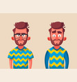 character in two variations of emotions vector image