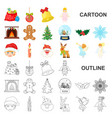 christmas attributes and accessories cartoon icons vector image