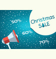 christmas sale blue background with megaphone vector image