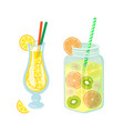 cocktails and lemonade in jar detoxing drinks vector image