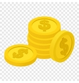 Coins isometric 3d icon vector image vector image