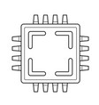 computer cpu chip line icon vector image