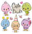 cute cartoon owls on a white background vector image vector image