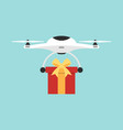 delivery drone flying shipping a present flat vector image